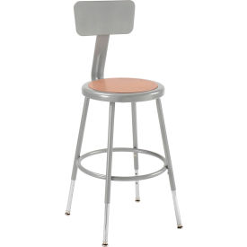 """Shop Stool with Backrest and Hardboard Seat – Adjustable Height 18""""-27"""" - Gray - Pack of 2"""