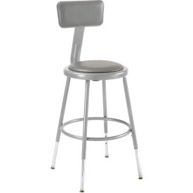 "Shop Stool with Backrest and Padded Seat - Adjustable Height 18"" - 26"" - Gray - Pack of 2"