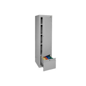 Sandusky System Series Storage Cabinet with File Drawer HADF171864 Single Door - 17x18x64, Gray- Pkg Qty 1
