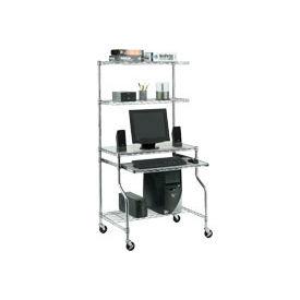 "Chrome Wire Shelf Mobile Computer Workstation, 31-1/2""W x 24""D x 63""H"