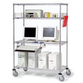 """Nexel™ 4-Shelf Mobile Wire Computer LAN Workstation w/Keyboard Tray, 36""""W x 18""""D x 69""""H, Chrome"""