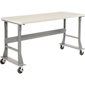 """72""""W x 30""""D Mobile Workbench - ESD Safety Edge - Gray"""