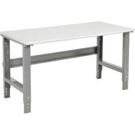 """72""""W X 30""""D ESD Safety Edge Top Work Bench - Adjustable Height - 1-1/4"""" Top - Gray"""