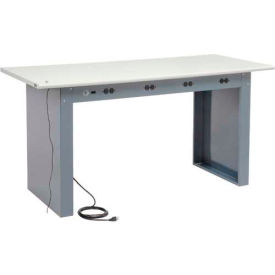 "72""W x 30""D Panel Leg Workbench With Power Apron and ESD Safety Edge Top"