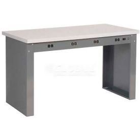 "72""W x 36""D Panel Leg Workbench With Power Apron and ESD Safety Edge Top"