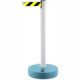 Tensabarrier White Outdoor Post 7.5'L Black/Yellow Chevron Retractable Belt Barrier