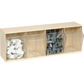 Quantum Tilt Out Storage Bin QTB304- 4 Compartments Ivory