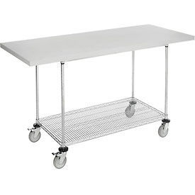 "72""W x 30""D Mobile Workbench with Wire Rack - Plastic Laminate Square Edge"