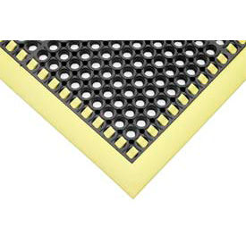 """SafetyTruTred™ Hi-Vis Drainage Mat, 3-Sided Border, 7/8"""" Thick, 26""""x40"""", Black/Yellow"""