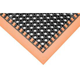 "7/8"" Thick Hi-Visibility Safety Mat with Borders on 3 Sides - 38x40 Orange"