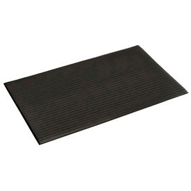 """Ribbed Surface Mat 3/8"""" Thick 3'W Full 60 Ft Roll, Black"""