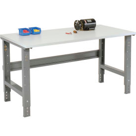 "72""W X 36""D ESD Square Edge Top Work Bench - Adjustable Height - 1-1/4"" Top - Gray"