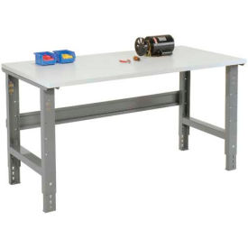 "72""W X 30""D ESD Square Edge Top Work Bench - Adjustable Height - 1-1/4"" Top - Gray"