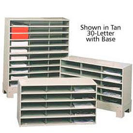 """30 Compartment Steel Literature Sorter with base - 42""""H Black"""