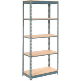 "Heavy Duty Shelving 36""W x 24""D x 60""H With 5 Shelves - Wood Deck - Gray"