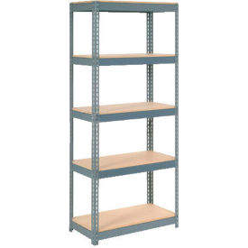 """Extra Heavy Duty Shelving 36""""W x 12""""D x 60""""H With 5 Shelves, Wood Deck"""