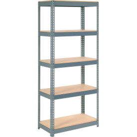 """Extra Heavy Duty Shelving 36""""W x 18""""D x 60""""H With 5 Shelves - Wood Deck - Gray"""