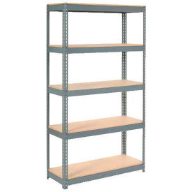 "Extra Heavy Duty Shelving 48""W x 12""D x 60""H With 5 Shelves, Wood Deck"