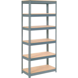 """Extra Heavy Duty Shelving 36""""W x 12""""D x 60""""H With 6 Shelves, Wood Deck"""