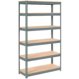 "Extra Heavy Duty Shelving 48""W x 18""D x 60""H With 6 Shelves, Wood Deck"