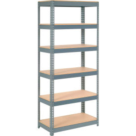 """Extra Heavy Duty Shelving 36""""W x 12""""D x 84""""H With 6 Shelves, Wood Deck"""