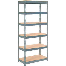 """Extra Heavy Duty Shelving 36""""W x 24""""D x 84""""H With 6 Shelves, Wood Deck"""