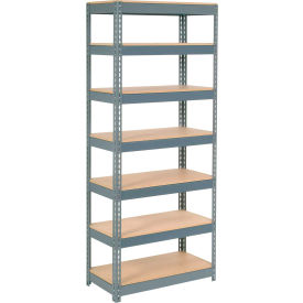"""Extra Heavy Duty Shelving 36""""W x 18""""D x 84""""H With 7 Shelves, Wood Deck"""
