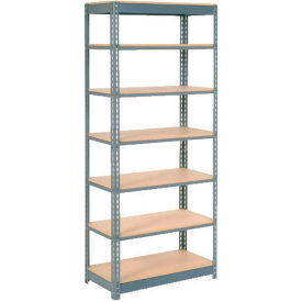 """Heavy Duty Shelving 36""""W x 12""""D x 96""""H With 7 Shelves - Wood Deck - Gray"""