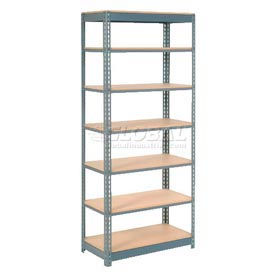 "Heavy Duty Shelving 36""W x 18""D x 96""H With 7 Shelves, Wood Deck"