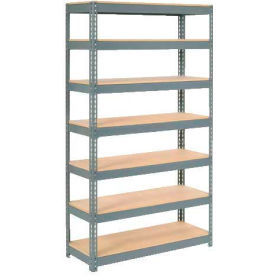 """Extra Heavy Duty Shelving 48""""W x 24""""D x 96""""H With 7 Shelves - Wood Deck - Gray"""