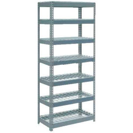 """Extra Heavy Duty Shelving 36""""W x 12""""D x 96""""H With 7 Shelves - Wire Deck - Gray"""