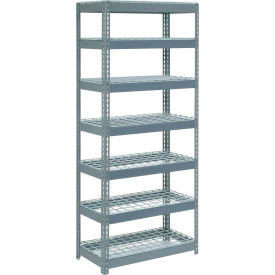 """Extra Heavy Duty Shelving 36""""W x 24""""D x 96""""H With 7 Shelves, Wire Deck"""