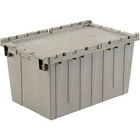 Plastic Storage Container - Attached Lid DC2515-14 25-1/4 x 16-1/4 x 13-3/4 Gray