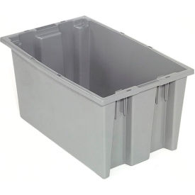 Stack And Nest Container - Plastic Storage SNT200 No Lid 19-1/2 x 13-1/2 x 8, Gray - Pkg Qty 6