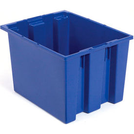 Plastic Shipping Containers - Stackable & Nesting SNT240 No Lid 23-1/2 x 15-1/2 x 12, Blue - Pkg Qty 3