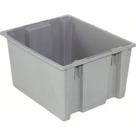 Stack And Nest Container - Plastic Storage SNT300 No Lid 29-1/2 x 19-1/2 x 15, Gray - Pkg Qty 3