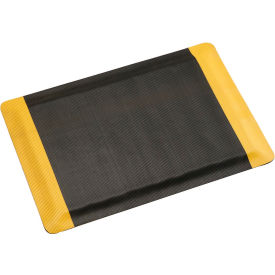 "Corrugated Safety Mat 48 Inch Wide 1/2"" Thick Black/Yellow Border- Pkg Qty 1"