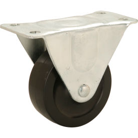 "Light Duty Rigid Plate Caster 3"" Rubber Wheel 150 Lb. Capacity"