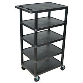 Luxor® BC50 Black Plastic Shelf Truck 24 x 18 x 36 with 5 Shelves
