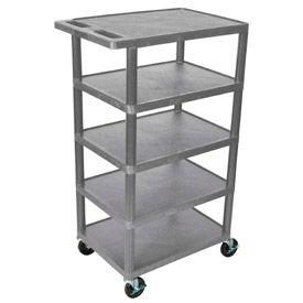 Luxor® BC50 Gray Plastic Shelf Truck 24 x 18 x 36 with 5 Shelves