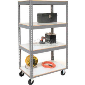 Easy Adjust Boltless 4 Shelf Truck 36 x 18 with Laminate Shelves - Polyurethane Casters