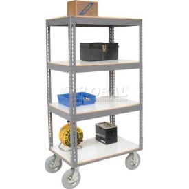 Easy Adjust Boltless 4 Shelf Truck 36 x 18 with Laminate Shelves - Pneumatic Casters