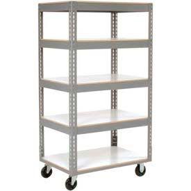 Easy Adjust Boltless 5 Shelf Truck 36 x 24 with Laminate Shelves - Polyurethane Casters