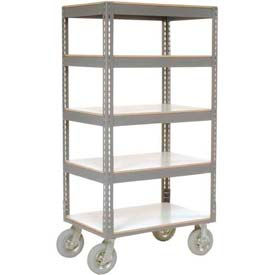 Easy Adjust Boltless 5 Shelf Truck 36 x 24 with Laminate Shelves - Pneumatic Casters