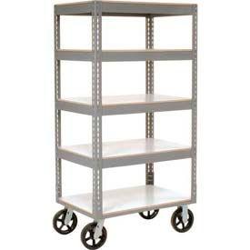 Easy Adjust Boltless 5 Shelf Truck 48 x 24 with Laminate Shelves - Rubber Casters