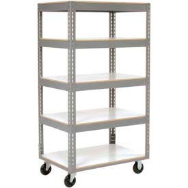 Easy Adjust Boltless 5 Shelf Truck 60 x 24 with Laminate Shelves - Polyurethane Casters