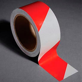 """INCOM® Safety Tape Reflective Striped Red/White, 2""""W x 30'L, 1 Roll"""
