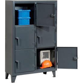 Strong Hold® Personnel Locker 3.55-18-3TMT - Multiple Tier 42x18x68 6 Doors Assembled Gray