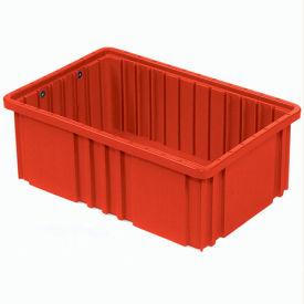 """Plastic Dividable Grid Container - DG91035,10-7/8""""L x 8-1/4""""W x 3-1/2""""H, Red - Pkg Qty 20"""