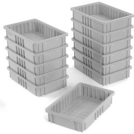 """Plastic Dividable Grid Container - DG92035,16-1/2""""L x 10-7/8""""W x 3-1/2""""H, Gray - Pkg Qty 12"""